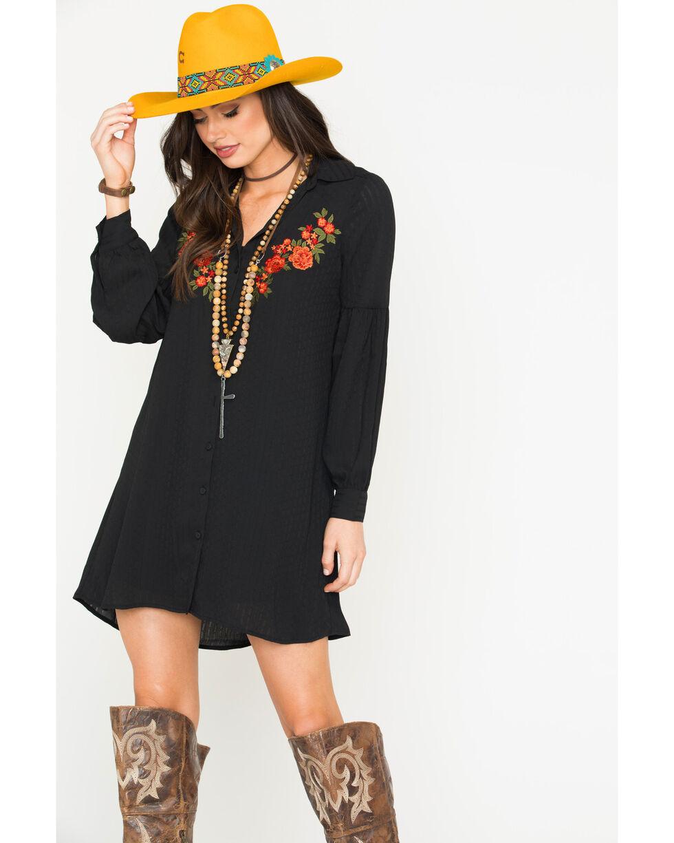Jack Women's Spense Shadow Striped Embroidered Dress, Black, hi-res