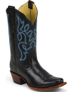 Nocona Black Brasalis Calf Fashion Western Boots - Square Toe, Black, hi-res