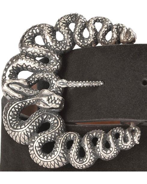 Lucchese Women's Black Suede Snake Buckle Belt , Black, hi-res