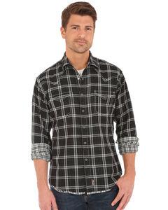 Wrangler Retro Men's Double-Faced Plaid Long Sleeve Snap Shirt, Black, hi-res