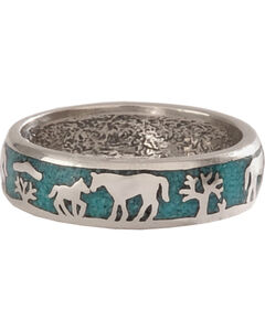 Silver Legends Women's Turquoise Horse and Foal Band Ring , Turquoise, hi-res