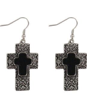 Shyanne Women's Engraved Cross Earrings, Silver, hi-res