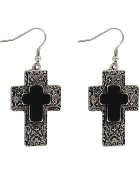 Shyanne Women's Engraved Cross Earrings, Silver, hi-res