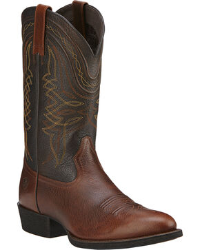 Ariat Comeback Cowboy Boots - Round Toe, Brown, hi-res
