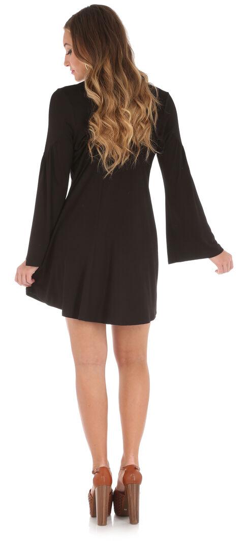 Wrangler Women's Black Keyhole Neckline Collar Dress , Black, hi-res