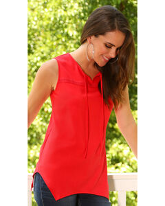 Wrangler Women's Red Asymmetrical Top , Red, hi-res