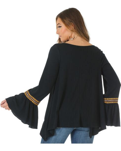 Wrangler Women's Peasant Top with Ruffle Sleeves, Black, hi-res