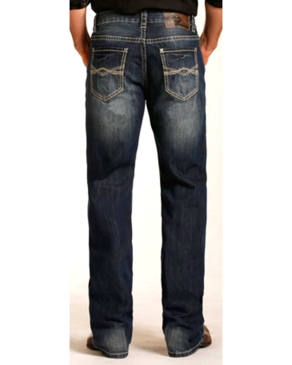 Rock & Roll Cowboy Men's Abstract Embroidery Double Barrel Jeans - Straight Leg , Indigo, hi-res