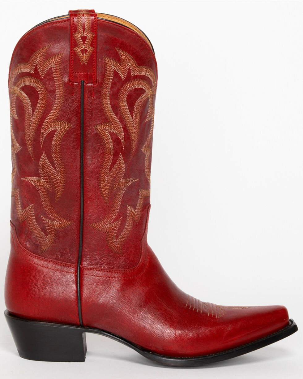 Shyanne Women's Red Leather Cowgirl Boots - Snip Toe, Red, hi-res