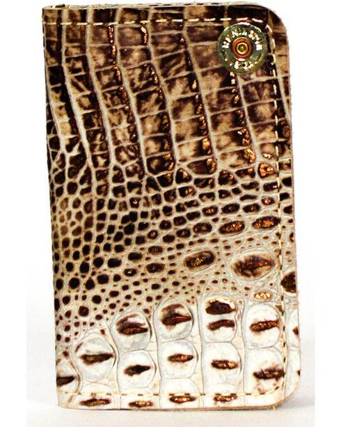 SouthLife Supply Men's Jackson Cream Croc Embossed Multi Pocket Wallet, Cream, hi-res