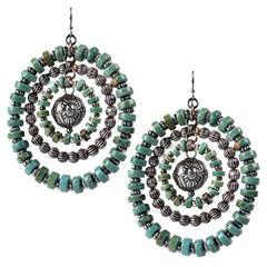 Treska Women's Cowtown Beaded Rings Pierced Earrings, Turquoise, hi-res