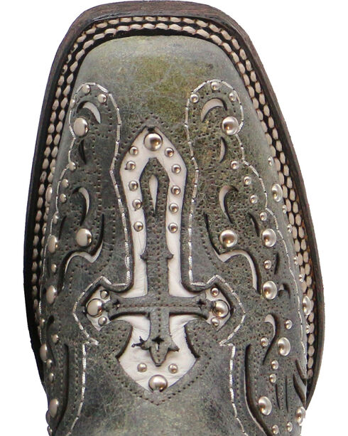 Corral Studded Cross & Wing Inlay Cowgirl Boots - Square Toe, Black, hi-res