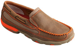 Twisted X Women's Brown & Orange Slip-On Driving Mocs , , hi-res
