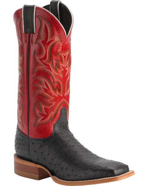 Justin Men's AQHA Full Quill Ostrich Cowboy Boots - Square Toe, Black, hi-res