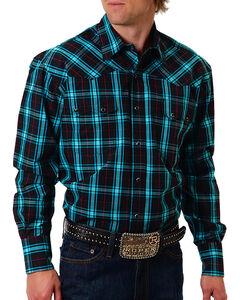 Roper Men's Black Plaid Long Sleeve Shirt, Black, hi-res