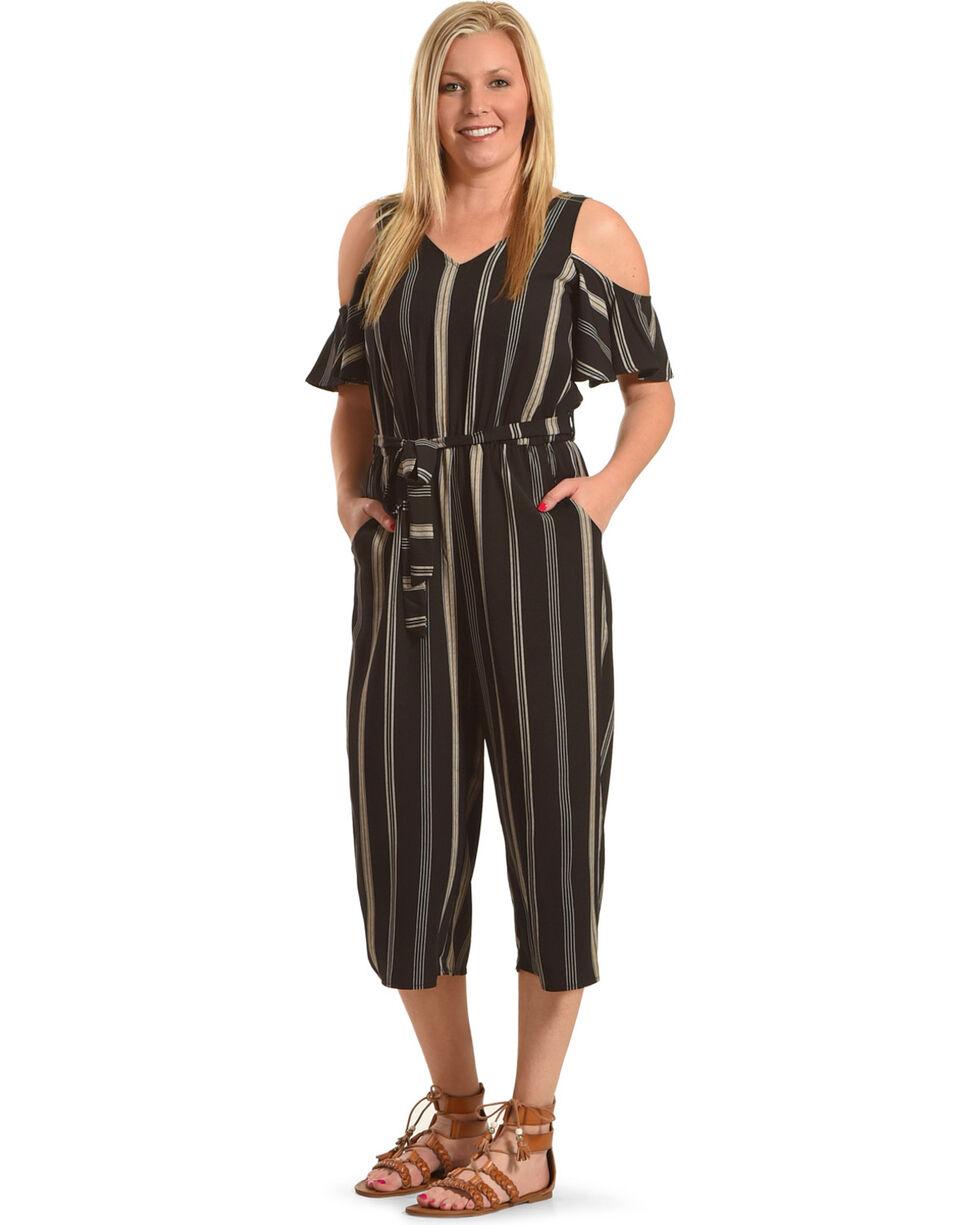 Eyeshadow Women's Striped Cold Shoulder Gaucho Jumpsuit, Black, hi-res