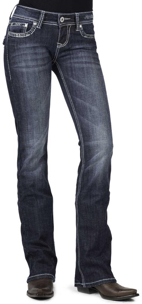 Stetson Women's 818 Fit Contemporary Contrast Stitch Bootcut Jeans - Plus, Denim, hi-res