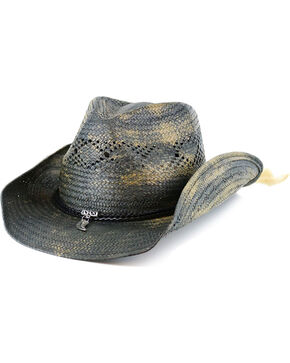 Shyanne Women's Feather Charm Straw Hat, Blue, hi-res
