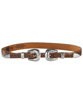 Tony Lama Women's Tan Double Buckle Houston Honey Belt , Tan, hi-res