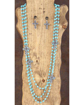 West & Co. 3-Strand Turquoise & Silver Cross Necklace & Earrings Set, Silver, hi-res