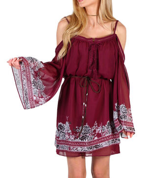 Shyanne Women's Open Shoulder Border Dress, Burgandy, hi-res