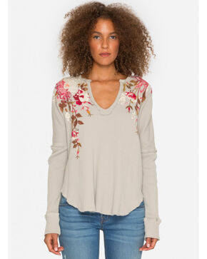 Johnny Was Women's Cream Chrys Long Sleeve Neck Thermal Top , Cream, hi-res