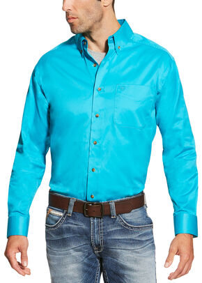 Ariat Men's Turquoise Solid Twill Shirt - Big and Tall, Turquoise, hi-res