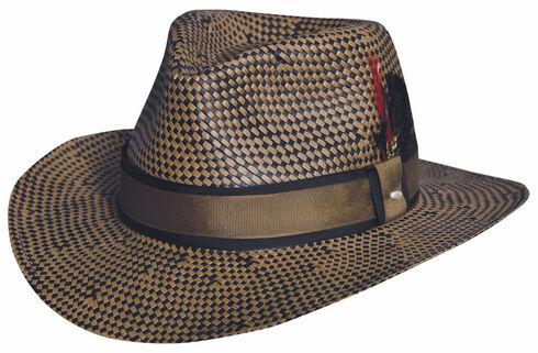 Black Creek Toyo Straw Two-Tone Patterned Hat, Multi, hi-res