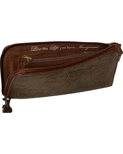 STS Ranchwear Mocha Floral Clutch Wallet, Dark Brown, hi-res