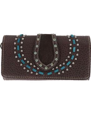 Shyanne Women's Studded Tri-Fold Wallet , Mauve, hi-res