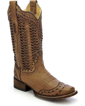 Corral Women's Braided Shaft Cowgirl Boots - Square Toe, Sand, hi-res