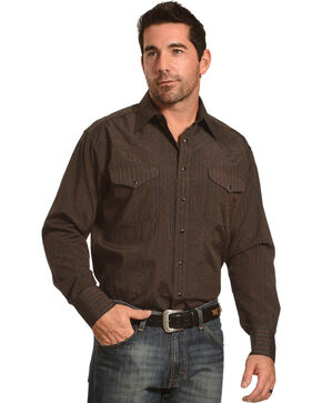 Panhandle Men's Brown Dobby Stripe Long Sleeve Western Shirt, Brown, hi-res