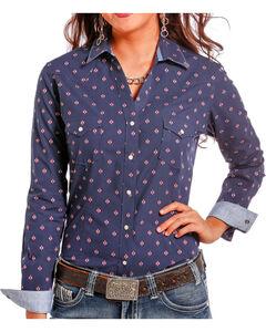 Rough Stock by Panhandle Women's Diamond Printed Long Sleeve Shirt, Navy, hi-res