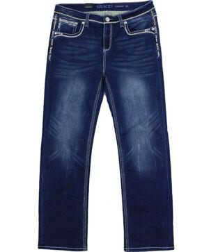 Grace in LA Women's Sequin Soft Denim Straight Leg Jeans - Plus, Indigo, hi-res