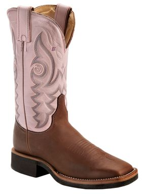 Justin AQHA Teal Stitched Cowgirl Boots - Square Toe, Brown, hi-res