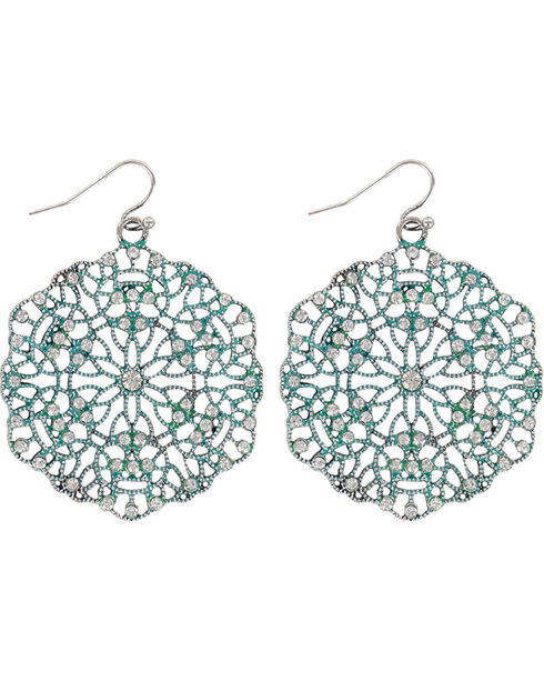 Shyanne Women's Cutout Disc Earrings, Turquoise, hi-res