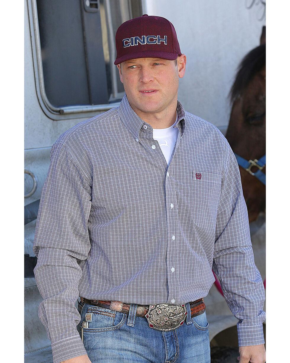 Cinch Men's Classic Fit Plaid Plain Weave Button Down Shirt - Big , White, hi-res