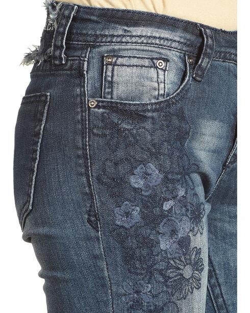 Grace in LA Women's Indigo Tonal Floral Embroidered Jeans - Boot Cut , Indigo, hi-res