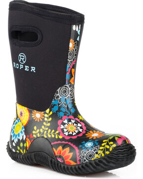 Roper Women's Flower Garden Casual Barn Boots , Black, hi-res