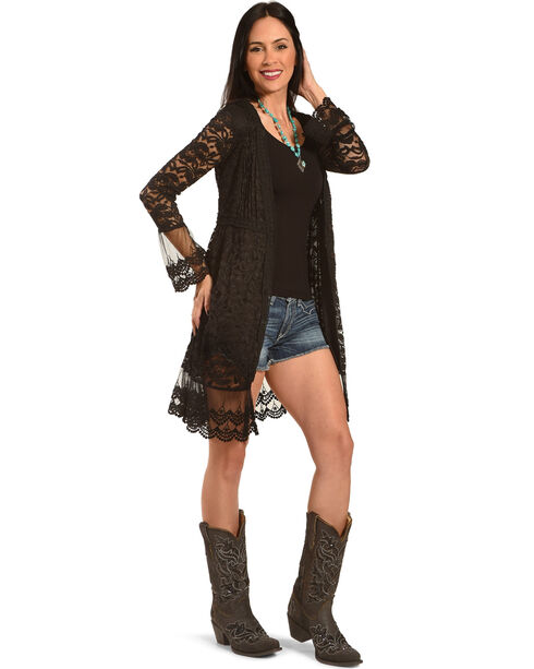 Young Essence Women's Long Lace Cardigan, Black, hi-res