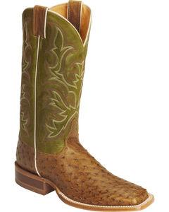 Justin Men's AQHA Full Quill Ostrich Cowboy Boots - Square Toe, , hi-res
