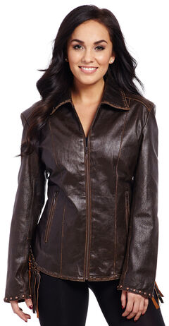 Cripple Creek Women's Laced and Fringe Leather Jacket, , hi-res