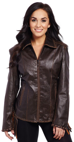 Cripple Creek Women's Laced and Fringe Leather Jacket, Antique Chocolate, hi-res