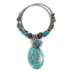 Treska Women's Mykonos Beaded Pendant Coil Necklace , Turquoise, hi-res