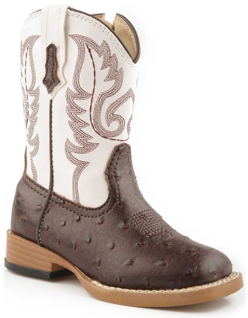 Roper Toddler Girls' Faux Ostrich Cowboy Boots - Square Toe, Brown, hi-res