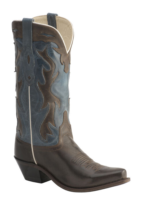 Old West Jama Vintage Inlay Shaft Cowgirl Boots - Snip Toe, Chocolate, hi-res