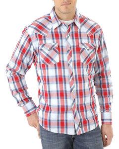 Wrangler Men's Multi Retro Long Sleeve Shirt - Tall, Red, hi-res