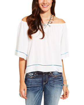 Ariat Women's White Corrine Top , White, hi-res