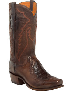Lucchese Men's Bryson Chocolate Caiman Inlay Western Boots - Square Toe, Chocolate, hi-res