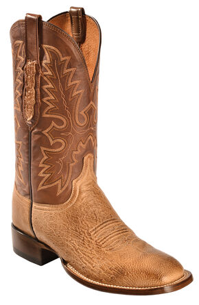 Lucchese Men's Smooth Ostrich Western Boots - Square Toe, Brown, hi-res